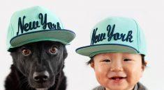 foto bebe e cachorro gemeos
